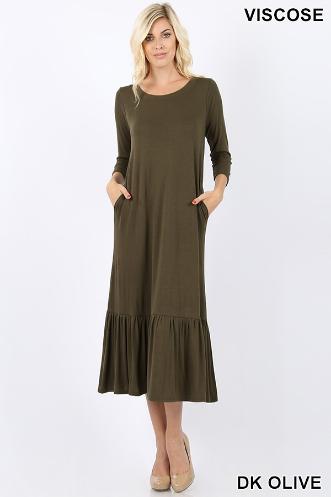 Zenana Dark Olive Maxi dress
