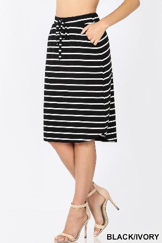 Black/white stripe Knee skirt