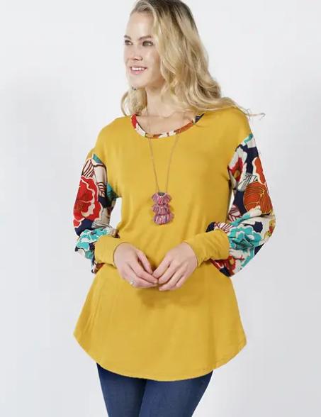 Mustard/Floral Top