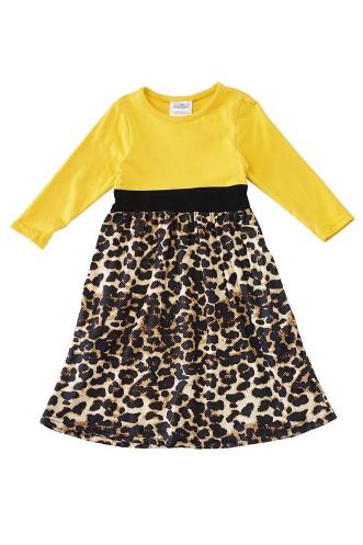 Girls Mustard and Leopard Maxi Dress