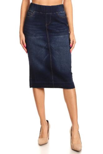 Denim Midi Skirt Elastic Waist
