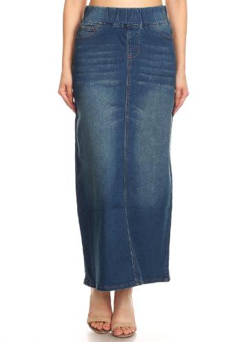 Denim Maxi Skirt Elastic Waist
