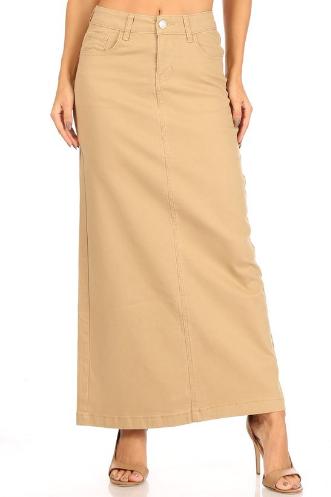 Khaki Twill Maxi Skirt