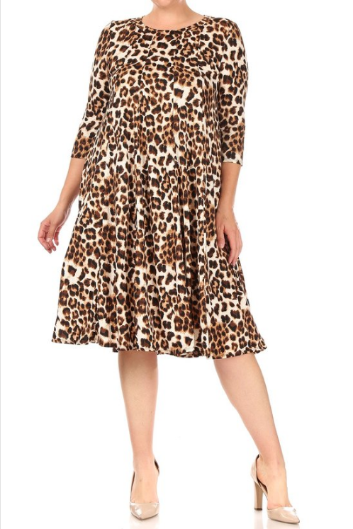Moa Plus Animal Print Dress