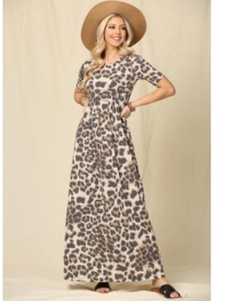 Leopard Maxi Dress Short Sl.