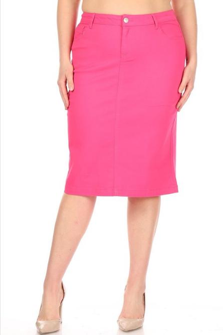 Be-Girl Plus Fuchsia Twill Skirt