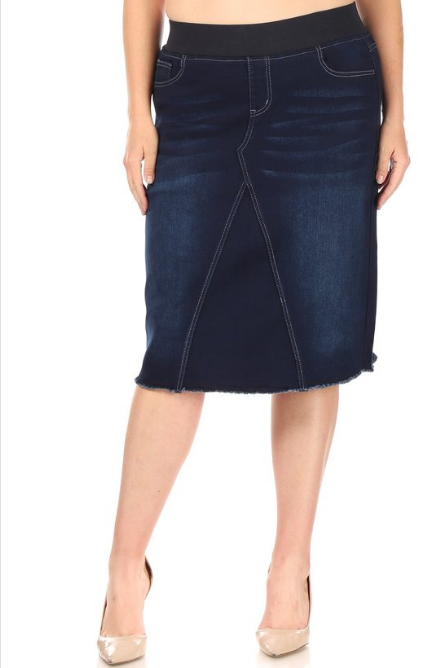 Be-Girl Plus Denim Pencil Skirt 28