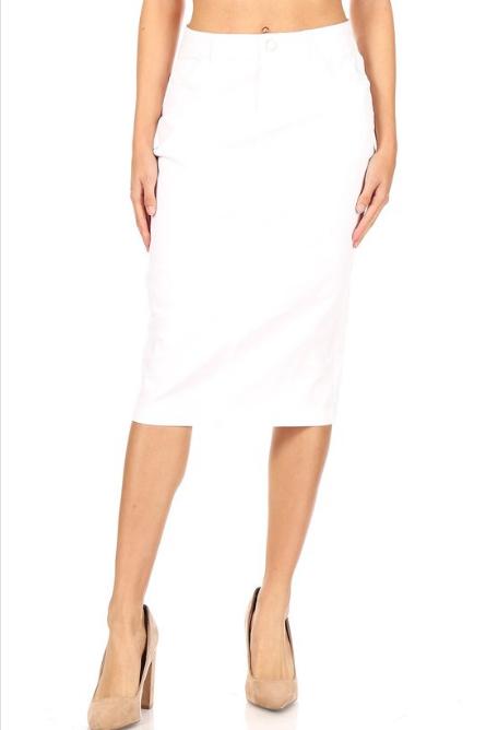 Be-Girl White Denim Pencil Skirt 28