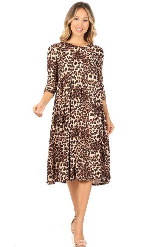 Animal Print Dress Midi Moa
