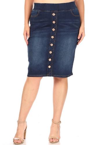 Plus Size Denim Pencil Skirt w/ buttons