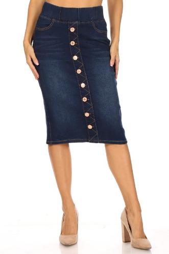 Denim Pencil Skirt w/ Buttons and Elastic Waist