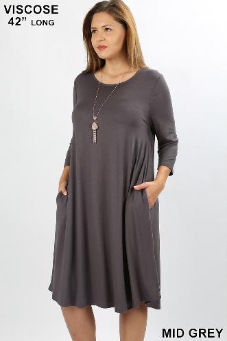 Plus Gray Midi Dress