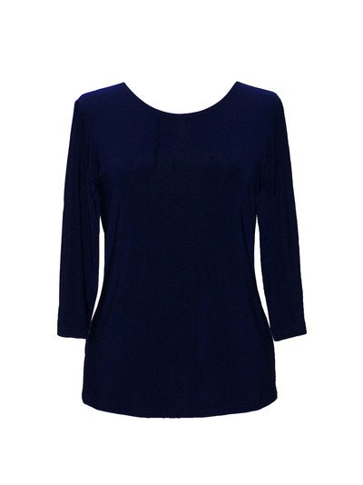 Valentina Solid 3/4 Sleeve Top, Navy