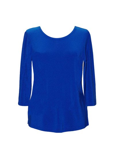 Plus Size, Valentina Solid 3/4 Sleeve Top, Royal Blue