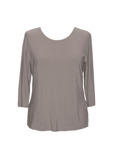 Valentina Solid 3/4 Sleeve Top, Taupe