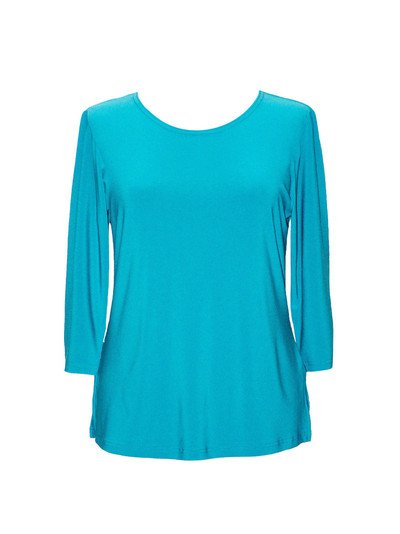 Valentina Solid 3/4 Top, Turquoise
