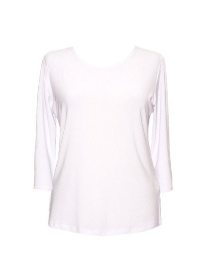 Valentina Solid 3/4 Sleeve Top, White