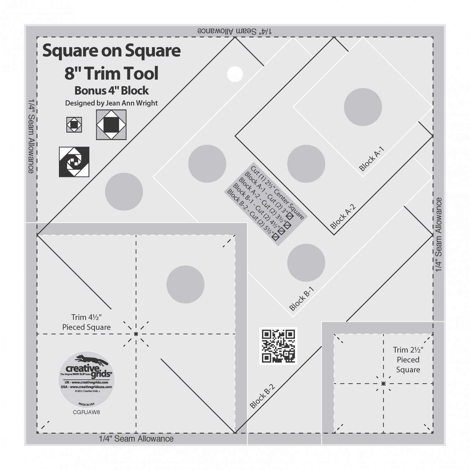 Creative Grids Square on Square Trim Tool - 4in or 8in Finished Quilt Ruler