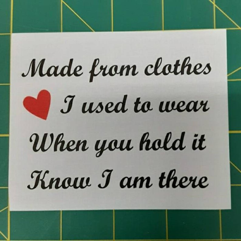 Memory Shirt Quilt Label with poem