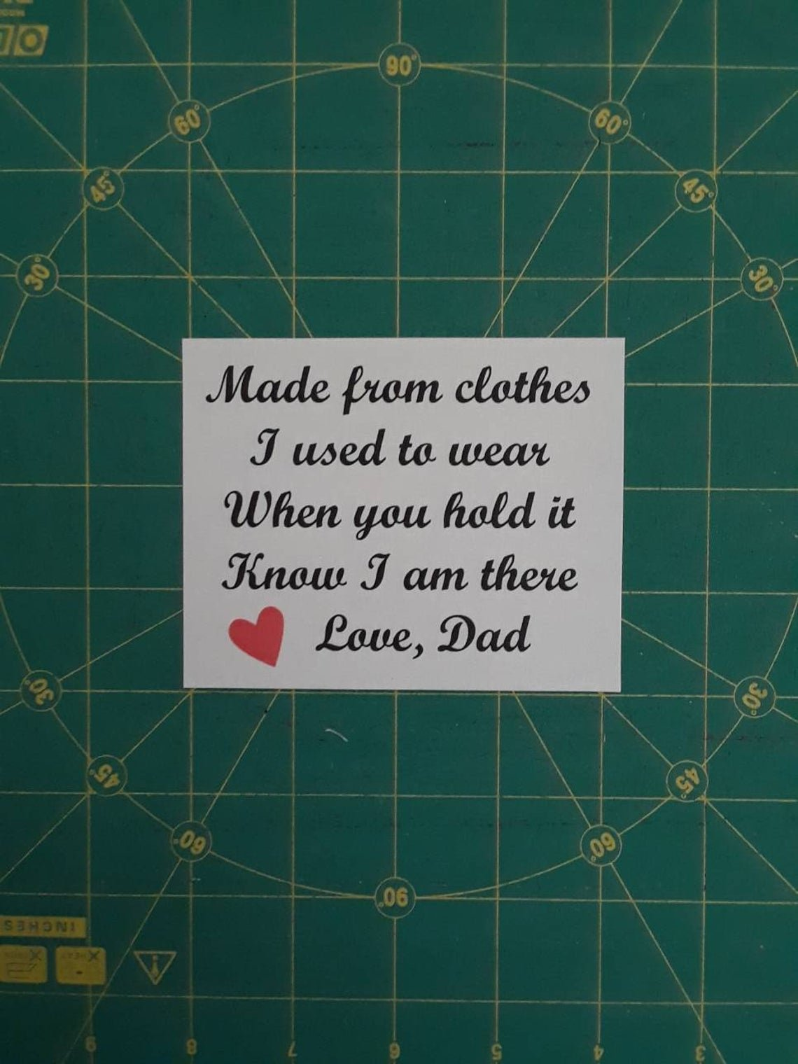 Custom Memory Shirt Quilt Label with poem and name