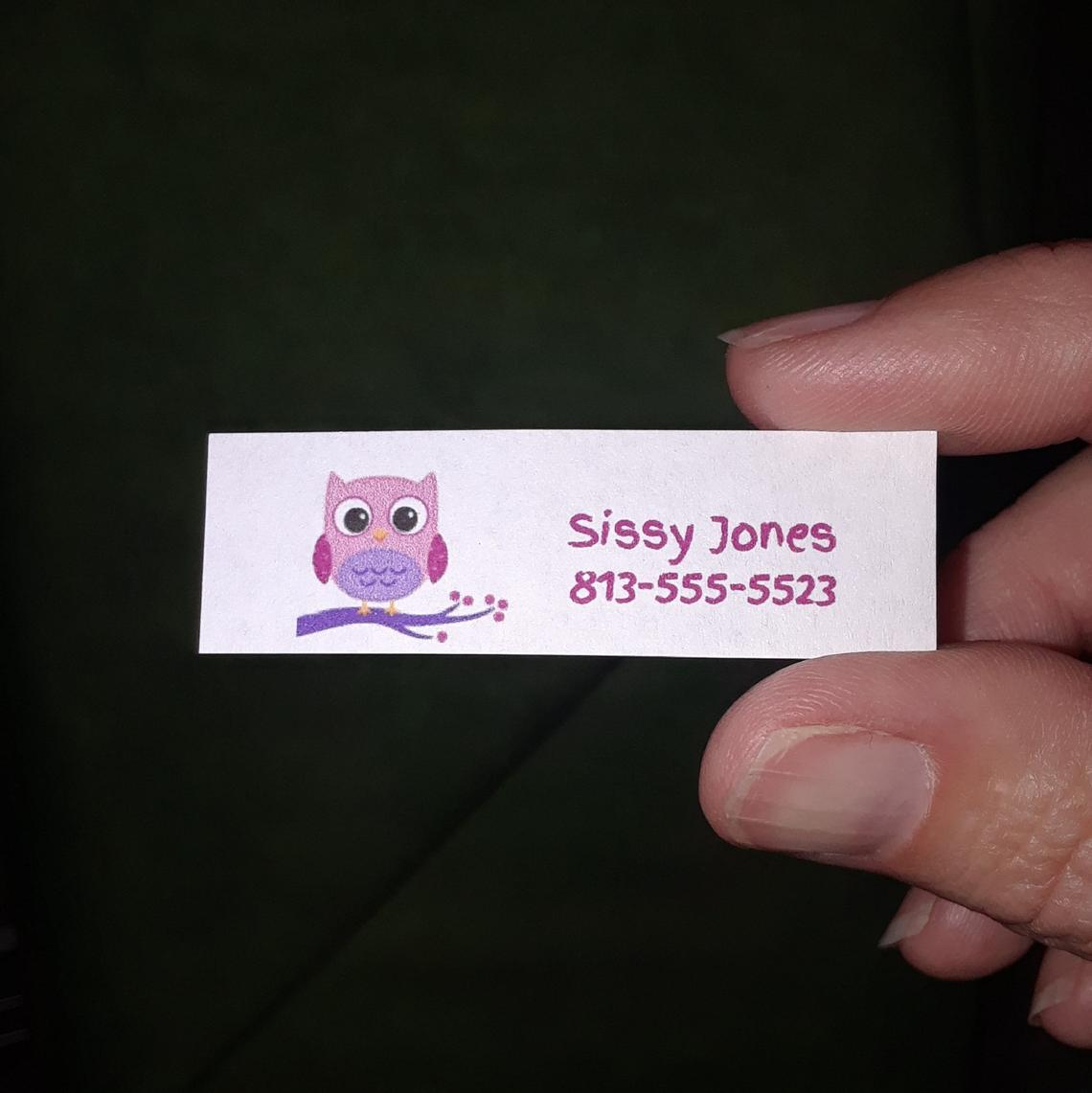 Custom Label with Owl 2 x 5/8 60-count Pink or Brown