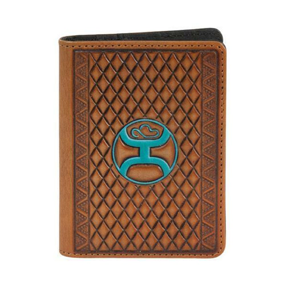 HOOey Western Men Roughy Money Clip Leather Tooled Turq Logo Brown 1781462MTQ