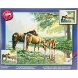 Paint Works Paint By Number Kit 20X16 Horses By A Stream