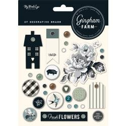 Gingham Farm Decorative Brads 27/Pkg