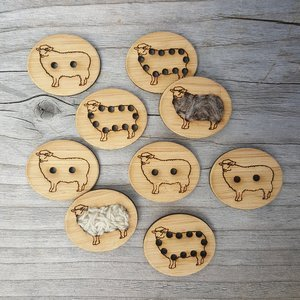1 Stitchable Sheep Buttons - Bamboo - Card of 4