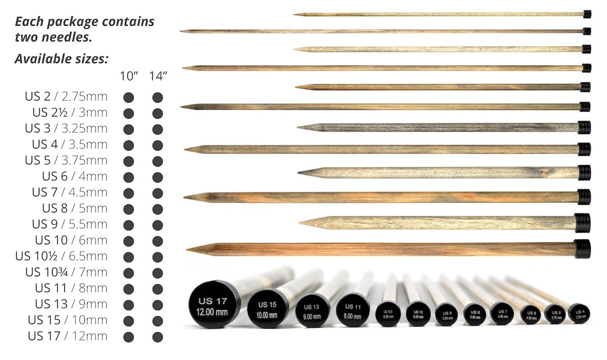 LYKKE Driftwood 10 inch Straight Knitting Needles