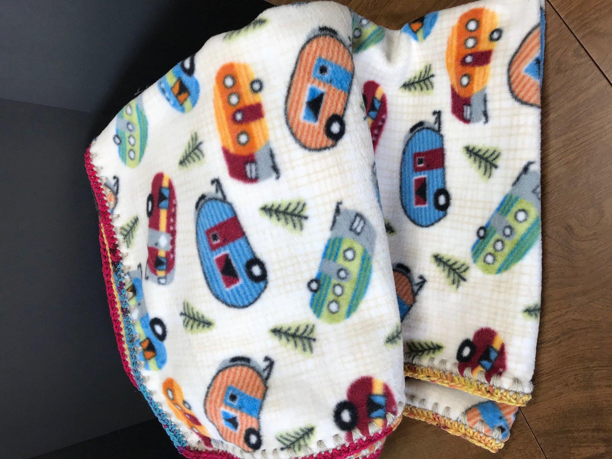 Camper Fleece Blanket with crochet border