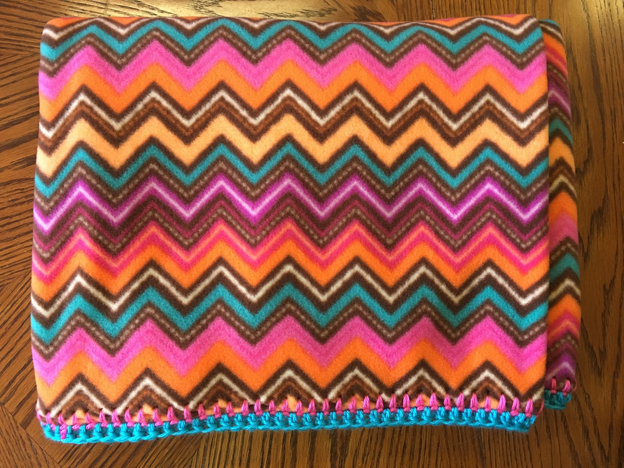 Teal/Pink Chevron Blanket 64 x 45