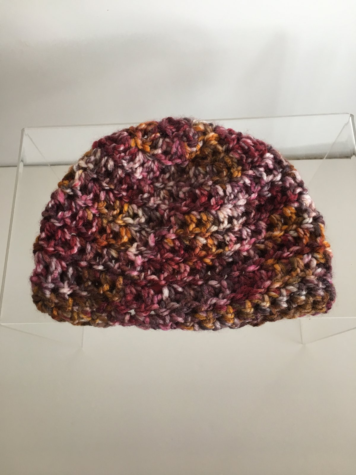 Maroon Multi Crocheted Hat - 3 - 6 mo