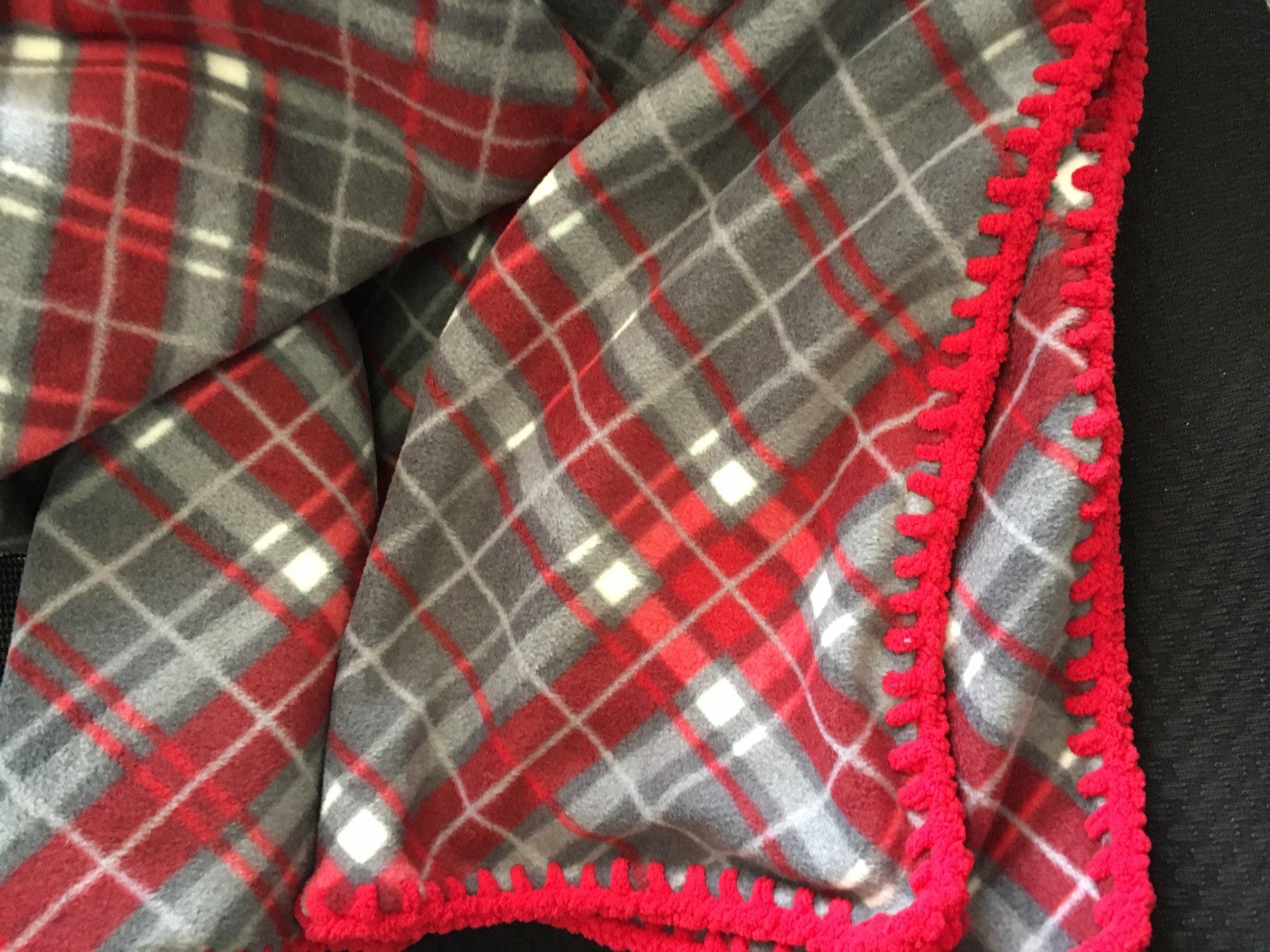 Super Plush Plaid Fleece Blanket W Crochet Border 50 X 60