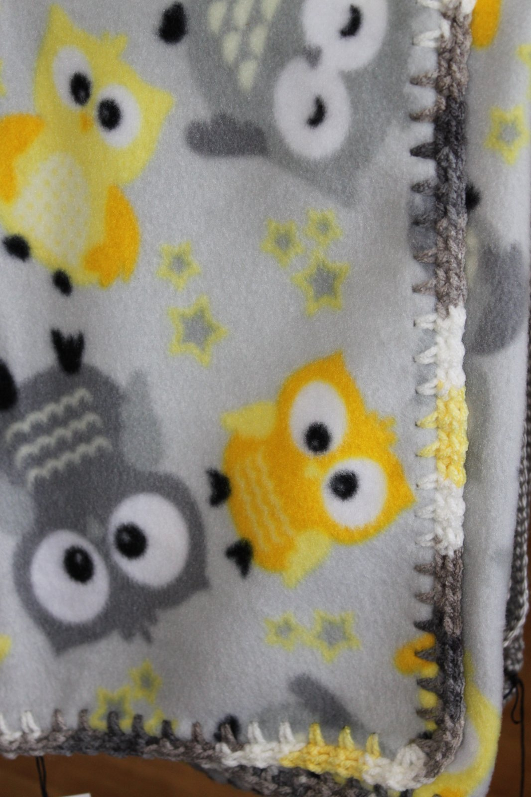 Gray and Yellow Owl Blanket 28 x 58