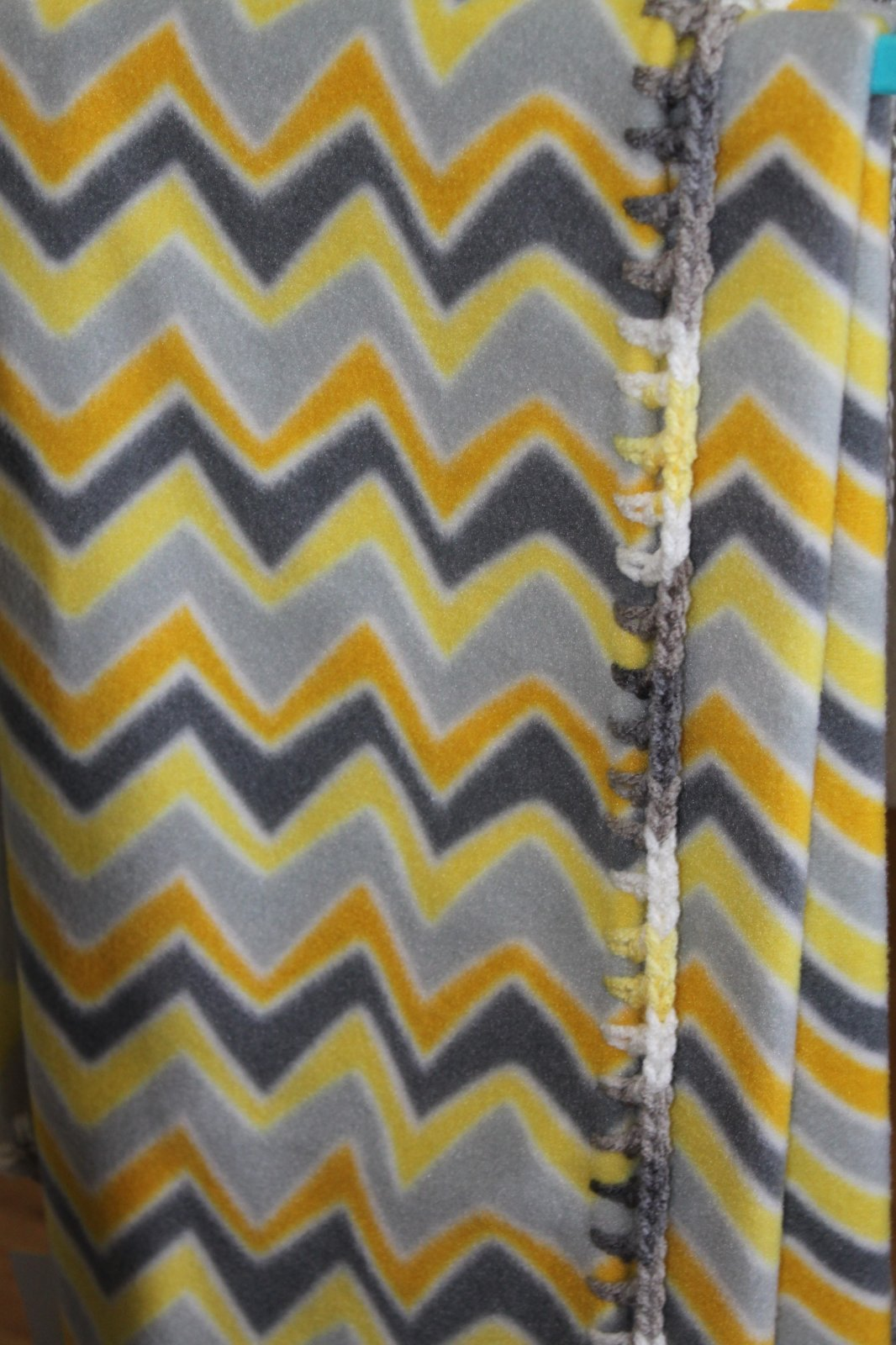 Yellow and Gray Chevron Blanket 28 x 38