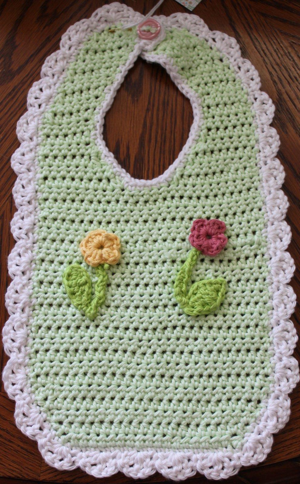 Green Floral Infant Bib