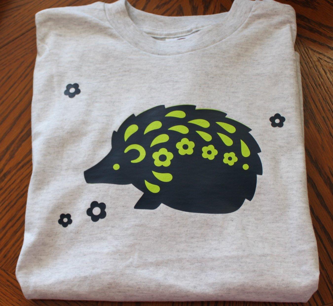 Gray Hedgehog T-Shirt Youth Large