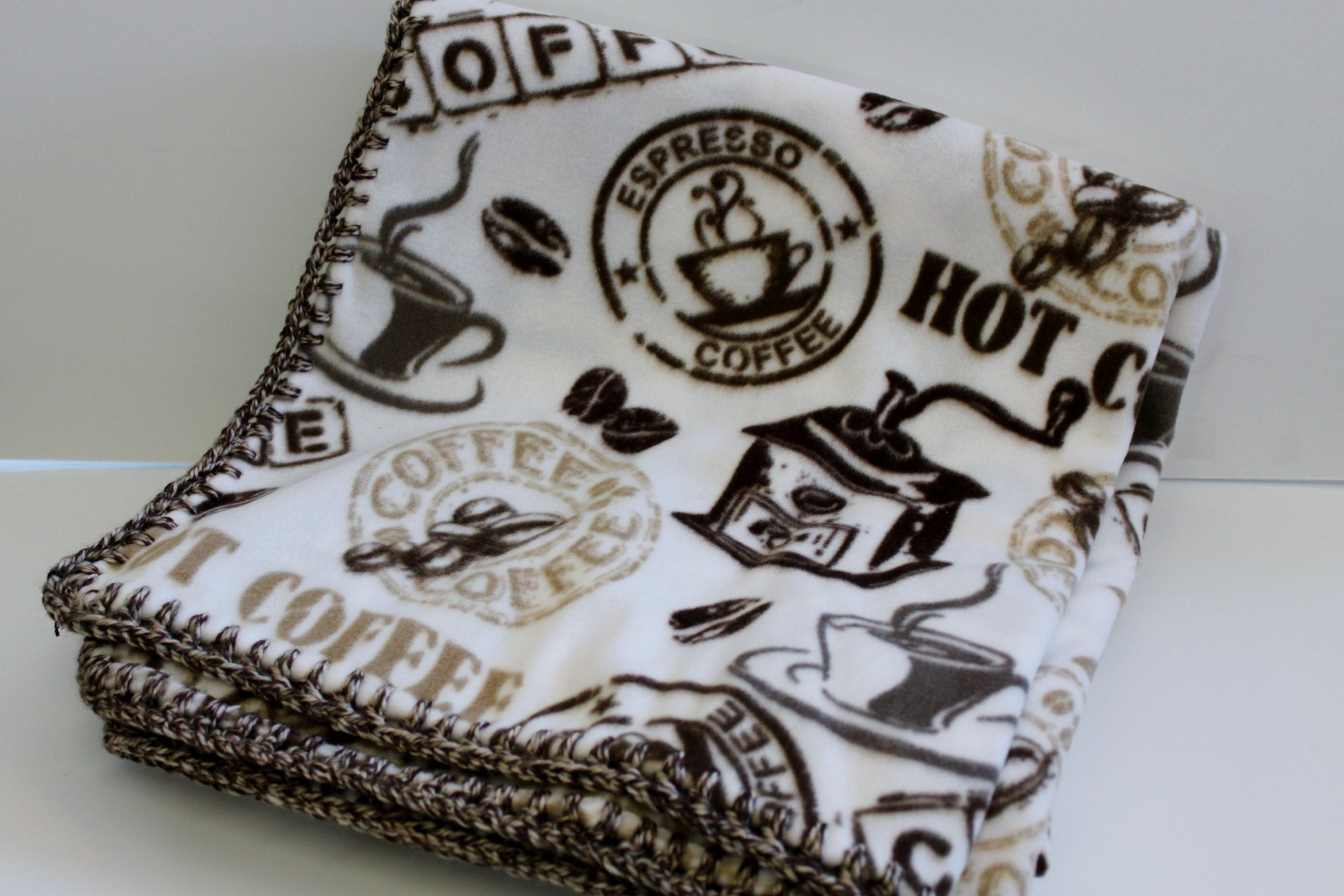 Coffee Fleece w/Crochet Border Blanket 60x72