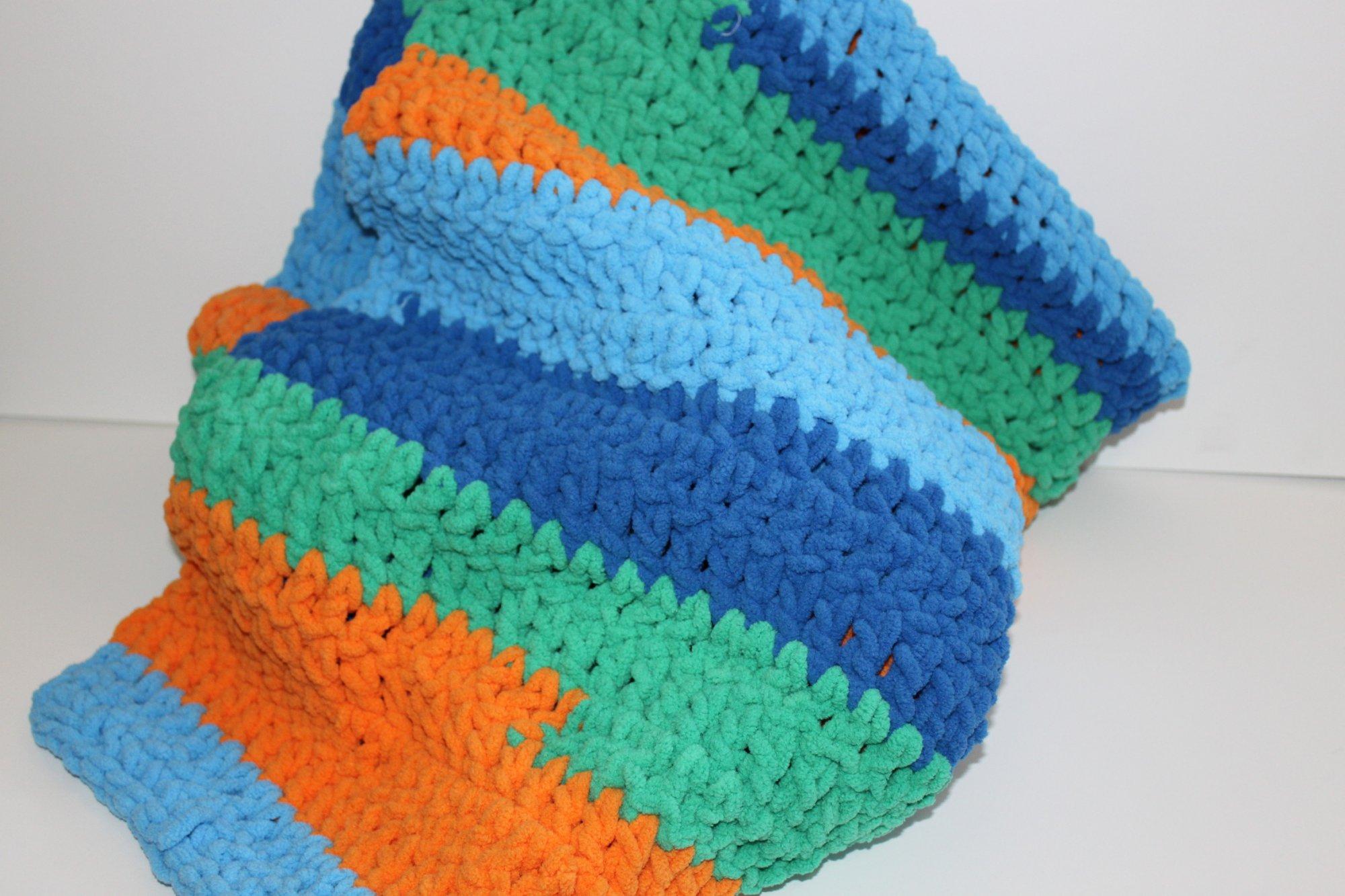 Blue/Orange/Green Chunky Blanket 30x46