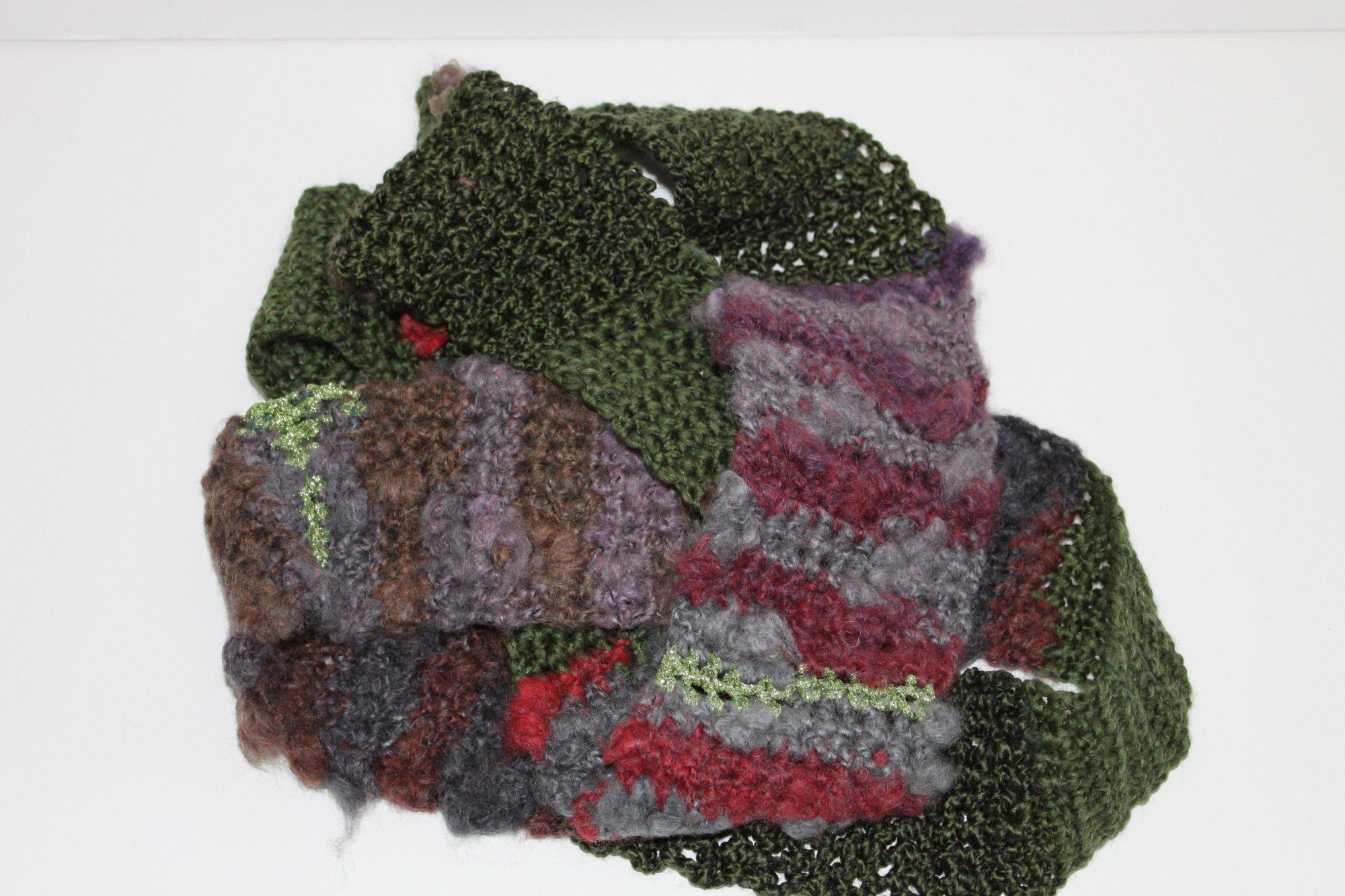Purple/Hunter Green/Red Infinity Scarf