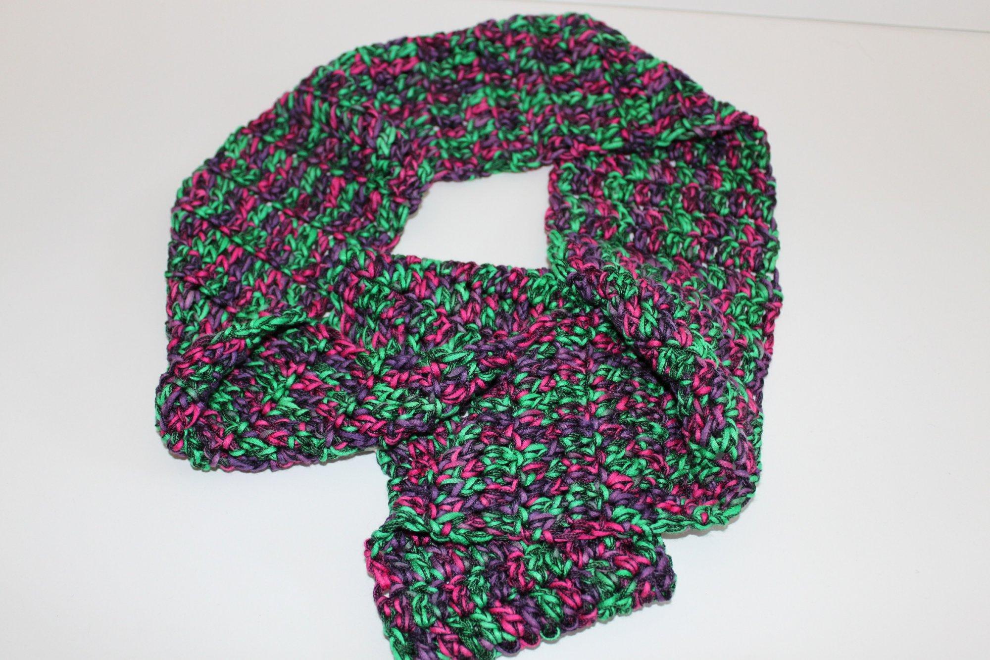 Purple/Green/Black Ribbon Infinity Scarf