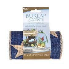 Burlap Ribbon - Blue Stars - Sewn Edge - 6 inches x 5 yards