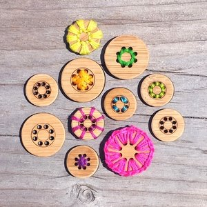 1.5  8 Hole Buttons - Bamboo - Card of 4