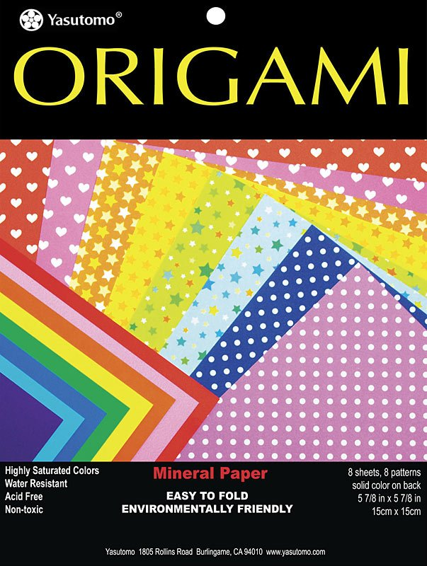 Yasutomo Patterns 5-7/8 Square Origami Mineral Paper 8 Sheet Pack