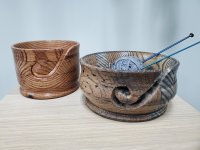 dark wood yarn bowls