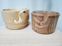 light wood yarn bowls