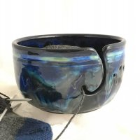 blue ceramic yarn bowl