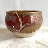 brown ceramic yarn bowl