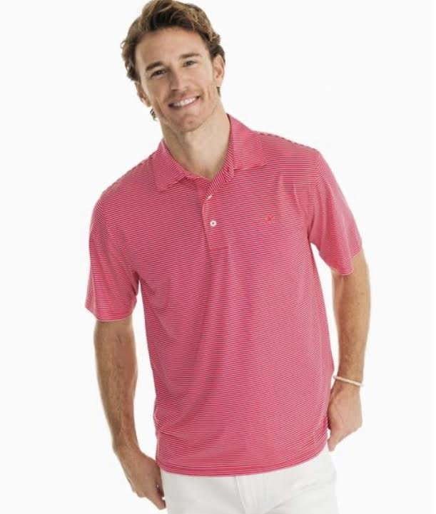 Southern Tide SS Brrr Driver Strip Perf. Polo 6145
